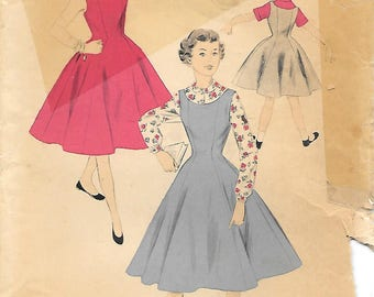 Girls 12-1950s Advance 6806 Princess Seam Jumper Sleeveless Dress and Blouse Vintage Sewing Pattern