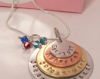 4 layer stacked charm, Hand stamped jewelry, handstamped, mothers necklace, mothers gift, grandmother gift, personalized jewelry