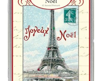 Joyeux Noel Vintage Paris Glitter Greetings Eiffel Tower Carte Postale postcard set Christmas Winter Holiday set number 1