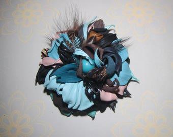 Blue Flower Brooch leather, Flower Brooch leather, Wedding Brooch flower, brooch Flower Wedding, brooch Blue flower, Valentine's day gift