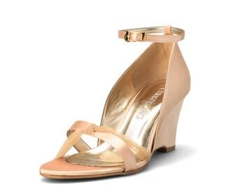 Aurelia Gold Satin Wedge, Gold Bridal Shoe, Wedding Shoes, Comfortable Wedding  Shoes, Gold Wedding, Gold Shoes, Garden Wedding, Gold Wedge