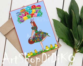 Easter Card, Happy Easter Card, Easter Chick, Digital Easter Card, Digital Card, Easter Digital Card, Printable Card, Greeting Cards, Easter