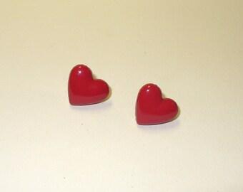 Vintage Red Heart Post Earrings DEADSTOCK