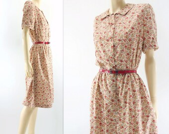 1950s Floral Dress Vintage 50s Dress 50s Cotton Dress  50s Summer Dress Red Floral Dress Shirtwaist Dress Medium m
