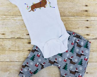 Christmas Dachshund pants and onesie infant outfit, Christmas joggers outfit, Dachshund leggings outfit, baby shower gifts, dachshund shirt