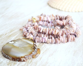 Mother of Pearl Necklace, Agate Slice Necklace, Beach Necklace, Long Shell Necklace, Lavender Necklace