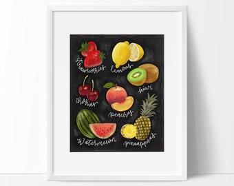 Fruit Art, Fruit Printable, Cute Fruit Art, Fruit Print, Fruit Chalkboard Art, Chalkboard Lettering, Chalk Art, Kitchen Art, Fruit Artwork.