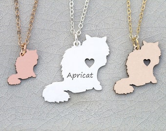 Longhaired Cat Necklace Pet Cat Jewelry • Persian Cat Pendant Feline Cat Lover Gift Cat Long Hair Fluffy Cat Loss Pet Name Cat Gift