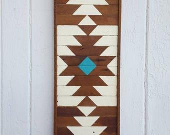 "Geometric Wood Wall Art, Colorful Southwest Decor, North American Style, Reclaimed Wood, 11x24"", Mosaic Art, Rustic Art"