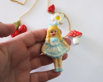 Ceramic pendants Necklace, Statement Necklace, Artistic Jewelry, Alice in wonderland long necklace, OOAK