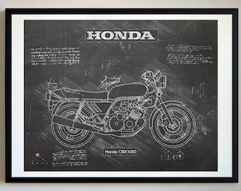 Motorcycle blueprint etsy honda cbx1000 1979 82 da vinci sketch honda artwork blueprint specs malvernweather Images