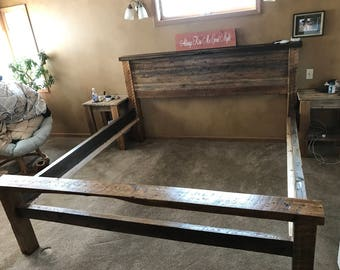 Custom made barn wood bed frame