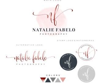 Premade Branding Kit, Photography logo, Watermark, Initials, Logo Design, Stamp, Branding kit, Watercolor logo, Fashion Photographer logo 06