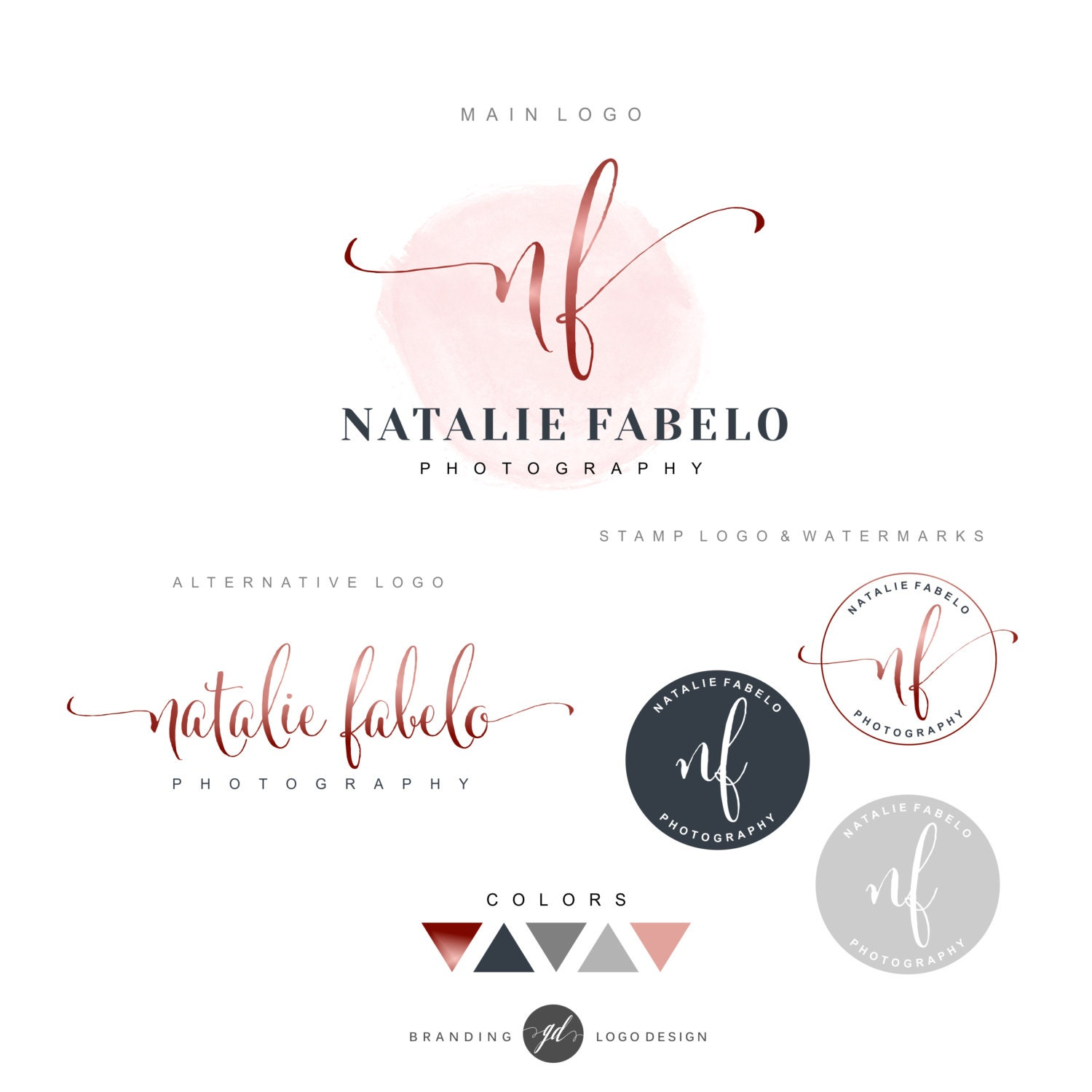 premade branding kit photography logo watermark initials