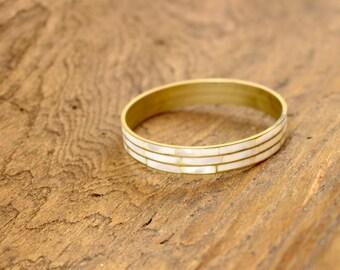 Vintage brass / mother of pearl bangle bracelet