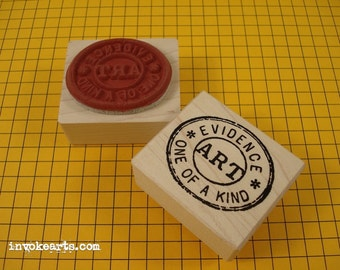 Art Cancellation Stamp / Invoke Arts Collage Rubber Stamps