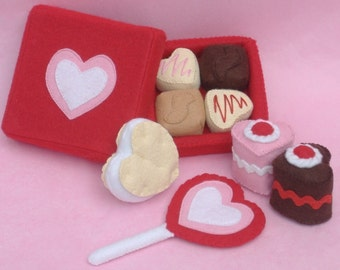 Valentine Sweets Felt Food PDF Pattern - Box Chocolates, Lollipop, Heart Petit Fours  Cakes, Sandwich Cookie