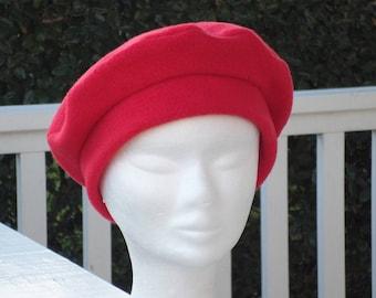 Sweet comfortable unique fleece winter linen red beret Hat Cap ' eva