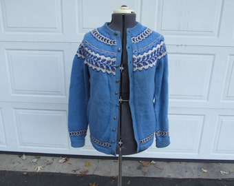 1950s Fair Isle handmade in Norway wool cardigan
