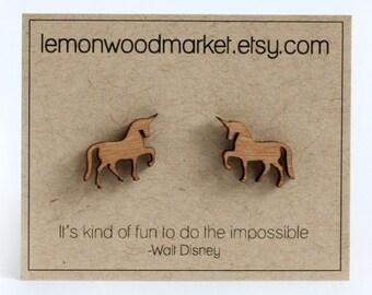 Unicorn Earrings - alder laser cut wood earrings
