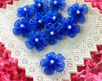 Cobalt Blue Chiffon Beaded Flower (1 inch-25 pieces), Organza Flowers with Pearl,Sewing Applique, Embellishment,Fabric Craft Flowers