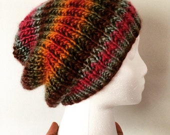 Handknit Soft Slouchy Hat, Multicolor Stripes