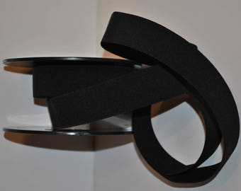 elastic ribbed flat 60mm / 6cm black roll 25 meters