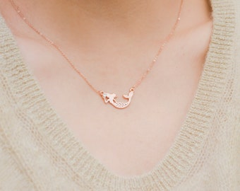Mermaid Necklace, Mermaid Jewelry, Fantasy Jewelry, Secret Sister Gift, Nautical Jewelry, Secret Sister, minimal, Rose gold necklace