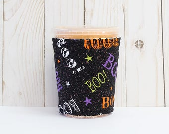 Halloween Coffee Cozy, Fall Cup Cozy,  Coffee Cozy, Iced Coffee Cozy, Small Cup Sleeve,Iced Coffee Sleeve, Eco Friendly,