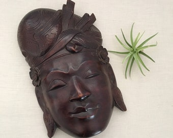 Vintage Balinese Wood Mask - hand carved wall art - Bohemian Boho Eclectic Jungalow Decor Style Home -  Indonesian - face bali #1017