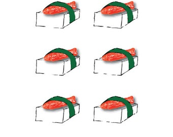 Red Swedish Fish Candy and Rice Sushi Illustration Art Print