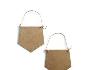 Polygon Brass Hoop Earrings