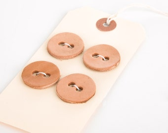 Women's Leather Button Set - 1 Inch Diameter Nude Natural Leather Buttons for Knitwear, Other Accessories