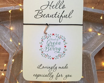 "Alphabet inital charm String Bracelet on ""Hello Beautiful"" quote card madebygreenberry wish bracelet"