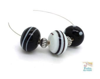 3 glass beads lampwork black and white craft Indian 12x17mm (pv730)