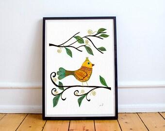 Bird Artwork Print, Bird Print, Bird Illustration, Bird home decor, Modern Print, Dining room wall art, Home Decor, Contemporary Art