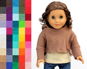 Fits like American Girl Doll Clothes - Cropped Hoodie, You Choose Colors | 18 Inch Doll Clothes