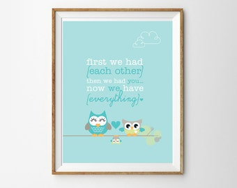 Cute Owl Family Print for a Baby Boy or Girl's Nursery - Instant Download Wall Art - Print at Home