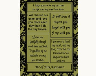 Olive Green Damask Romantic Vows Personalised Wedding Sign