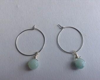 Silver Hoop Earrings with Amazonite Drops