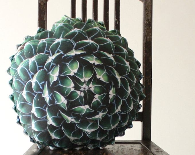 Spring Succulent decorative pillow made to order (Queen Victoria Agave)