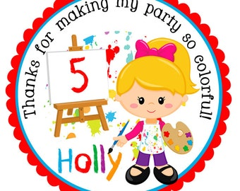 Art Birthday Party-Art Party Favor Tags-Art Party Favor Stickers-Painting Party Stickers-Set of 12