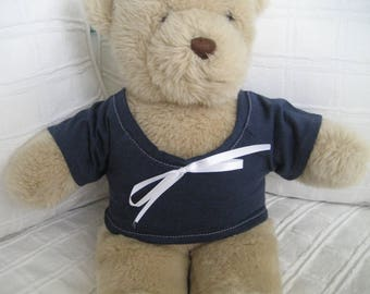 Teddy Bear Clothes, Basic Navy T-Shirt with White Bow