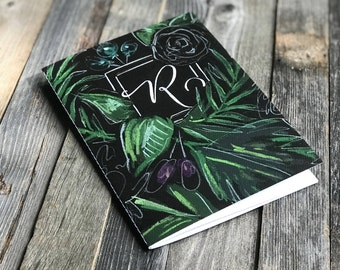 Monogrammed Blank Notebook Greenery Journal | Chalk Greenery | Travel Journal | Gifts for Her | Idea Notebook | Jotters | Diaries | Books