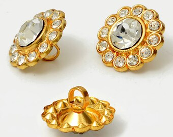 16mm Crystal Rhinestone Button with Shank by 2 pcs, Crystla/Gold,  ROI-RB533