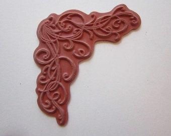 rubber stamp - corner flourish, swirl - unmounted red rubber stamp