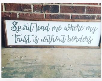 30x8 Spirit Lead Me Framed Wooden Sign