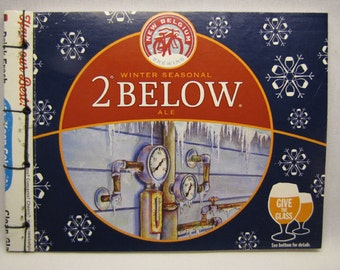 2 Below Snow Day Recycled  New Belgium Brewing Journal, Seasonal, Beer, Red, Blue, Upcycled, Stab Bound, OOAK