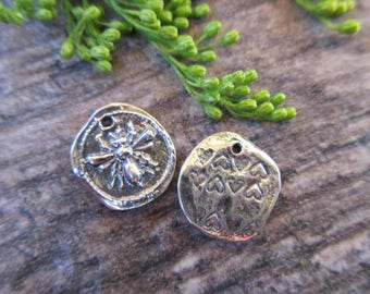 1pc Sterling Silver 925 Honey Bee charm wax seal style 12mm x 13mm oxidized finish artisan style boho chic bracelet charm necklace charm