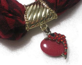 Red Dolphin Scarf Pendant - Scarf Jewelry - Scarf Necklace - Scarf Charm - Gift Under 20
